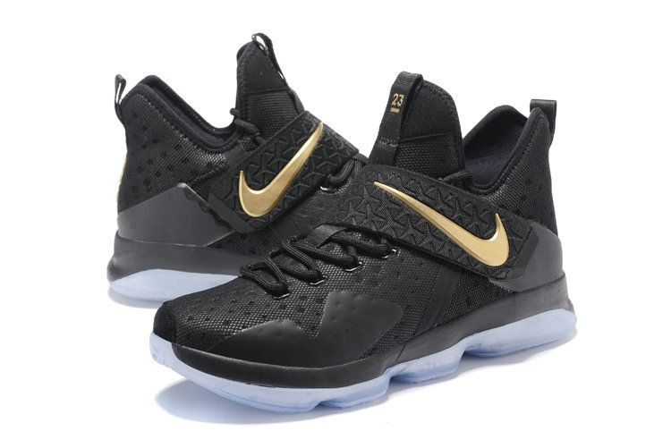 25e70fae383 New LeBron James Shoes Black Gold Lebron 14 XIV Championship 20116 2017