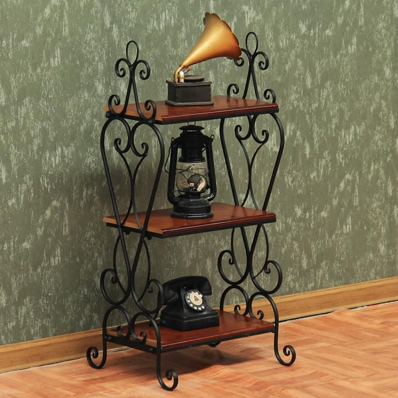 European Ground Iron Book Shelf Small Coffee Table