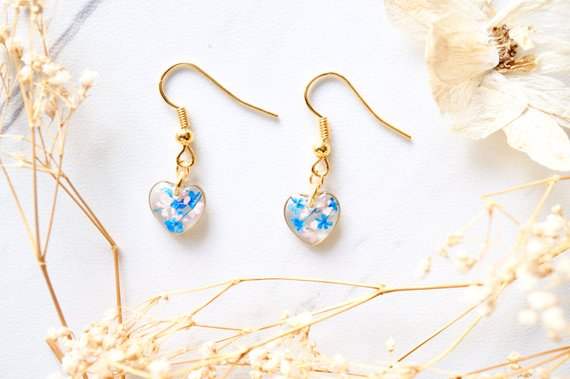 cf9038970 Real Dried Flowers and Resin Earrings, Gold Heart Drops in Blue and Pink