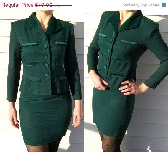 Lois Snyder Dani Max Suit Set Jacket And Skirt Dark Green
