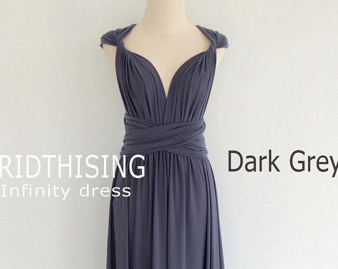 Maxi dunkel grau Infinity Kleid Brautjungfern Kleid Prom Kleid ...