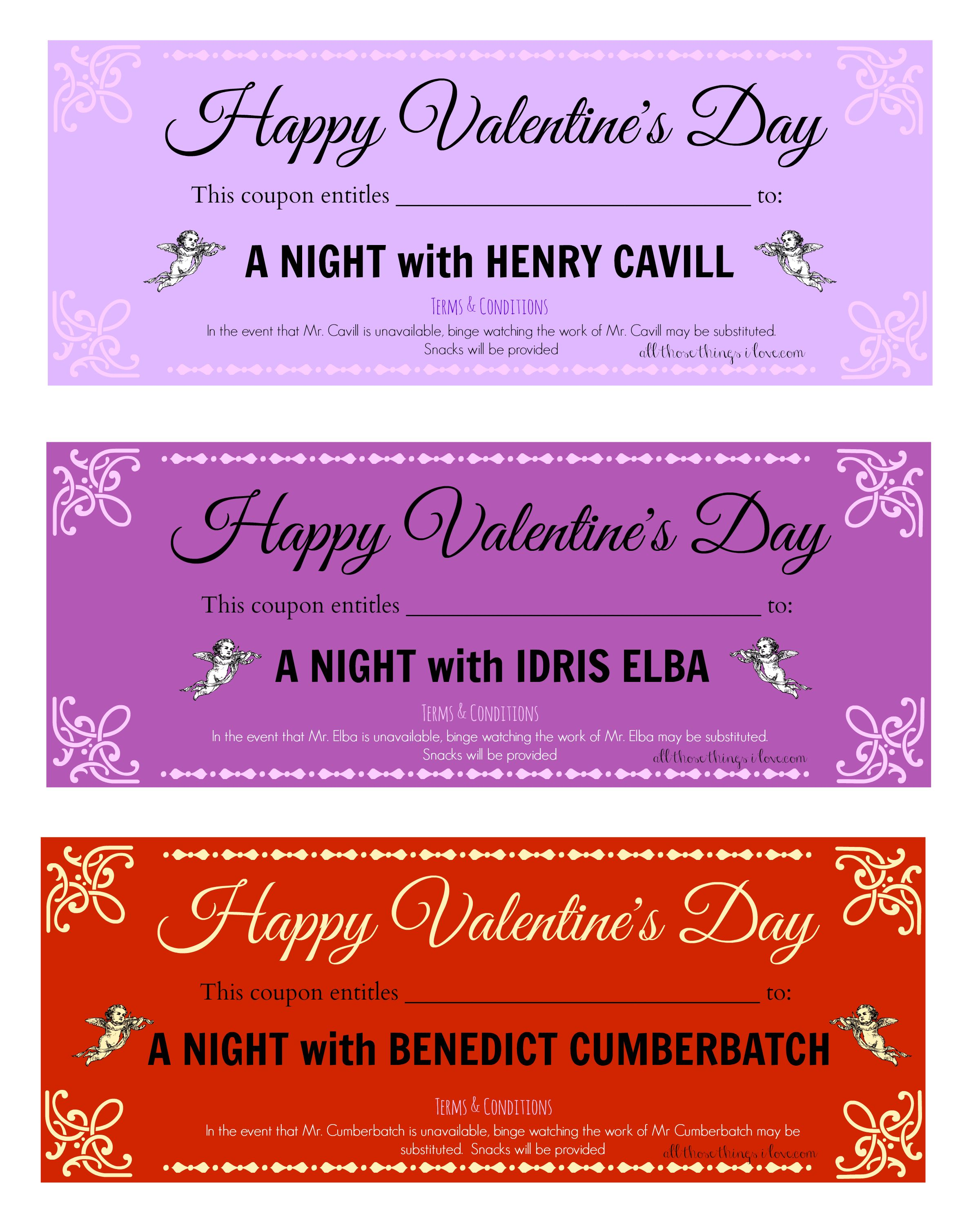 Free ValentineS Day Printable Love Coupons A Night With Henry