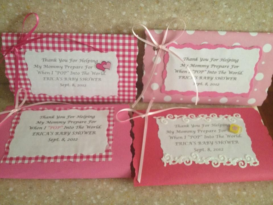 Made these for my daughters baby shower. They are individually wrapped pop corn packs. Came out really cute and got lots of compliments.
