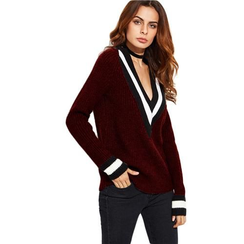 Women Striped Trim Plunge Neck Casual Long Sleeve Loose Sweater Women Sexy  Sweater. Burgundy ...