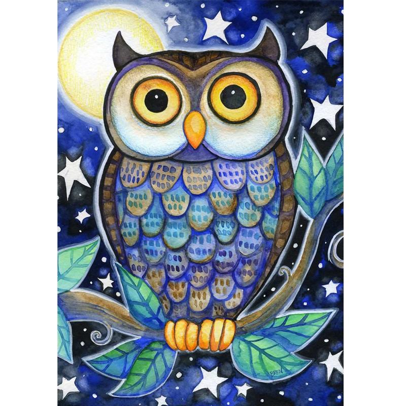 Owl 5D DIY Paint By Diamond Kit Owl painting, Whimsical