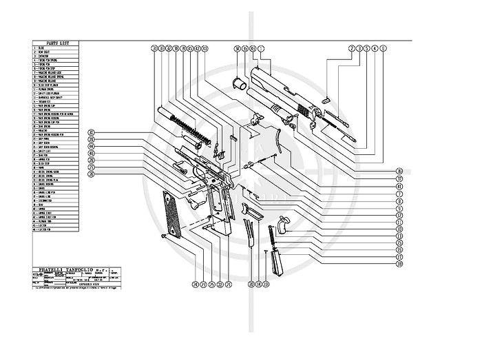 Tanfoglio Colt .45 Exploded View Drawing
