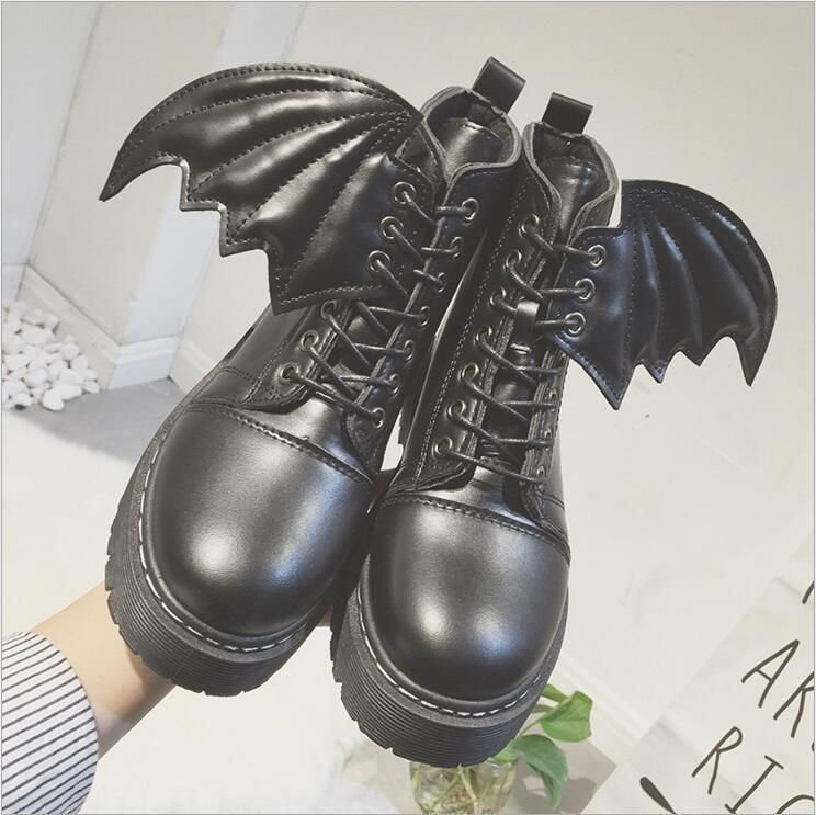 New Women Round Toe Lace up Gothic Ankle Boots Punk Retro Lady wing Shoes SYJJ