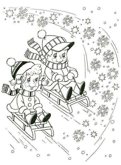 kleurplaat sleeën | Weihnachten/ Winter | Pinterest