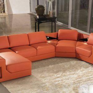 Beau Burnt Orange Leather Sectional Sofa