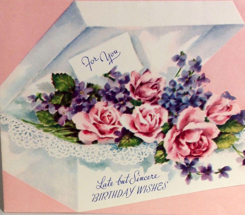 Beautiful Box Pink Roses Flowers 1940s Vintage Birthday Greeting