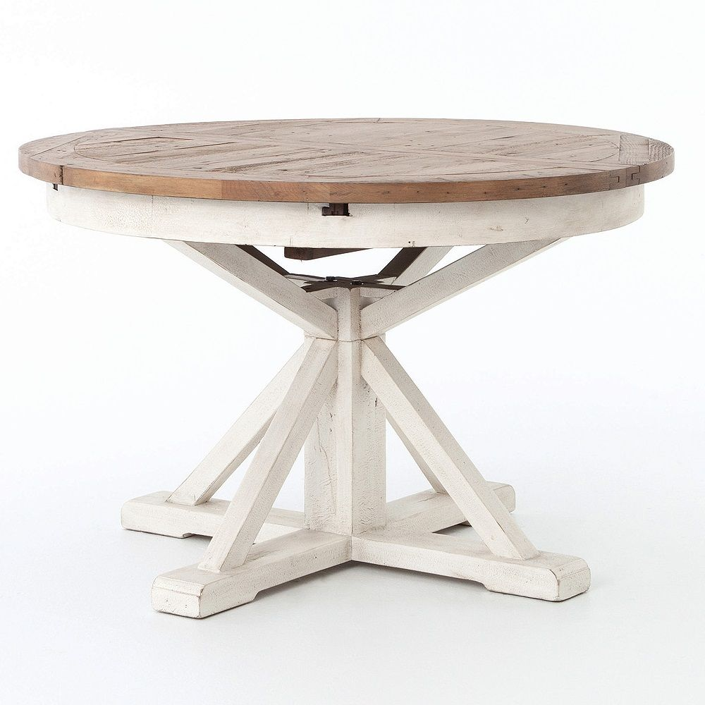 """Cintra White Expandable Round Dining Table 47"""""""