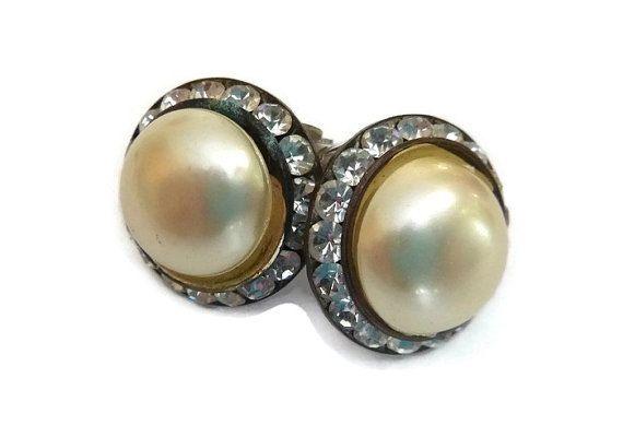 SALE Mid Century Rhinestone Pearl Earrings Old Hollywood 1950s Classic Vintage Jewelry 60s Wedding Bridal Mad Men Earrings Bride Bridesmaid