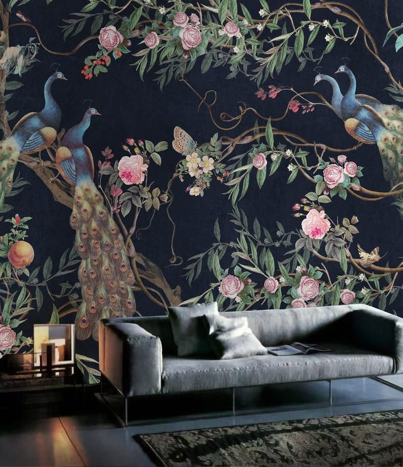 Peacock Wallpaper Self Adhesive Peel And Stick Peony Blossom Etsy Mural Wallpaper Floral Wallpaper Wall Murals