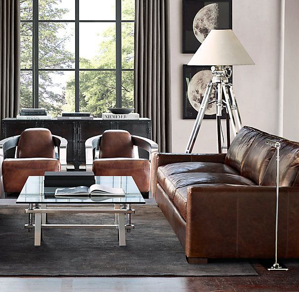 Maxwell Leather Sofa Restoration Hardware Living Room