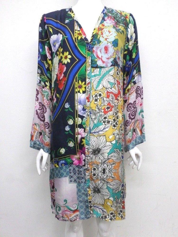 NWT Johnny Was Rosanna 100/% Silk BOXY Blouse Top Tunic S M L XL XXL Scarf print