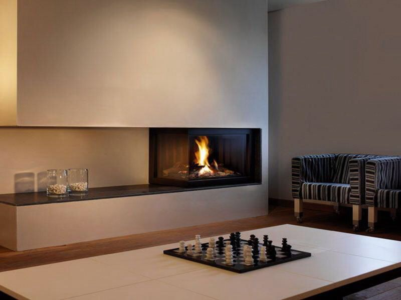 Asymmetrical fireplace design with open hearth perfect for Modern living room gas fires
