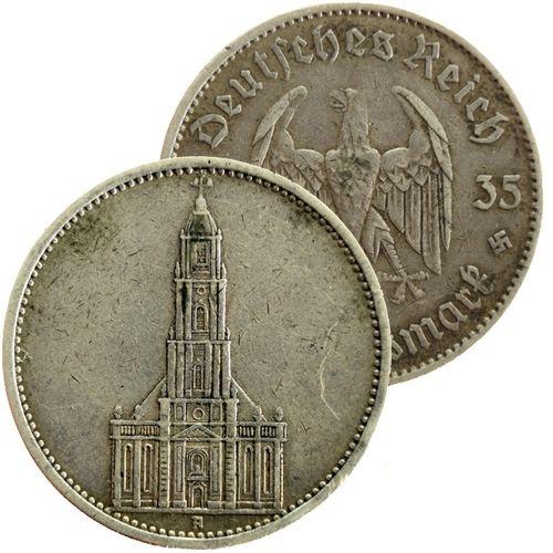 "1935 A Germany Garrison Church (Potsdam) silver 5 mark coin www.numismaticland.co.uk Obverse: German eagle Obverse legend: ""Deutsches Reich 1935 5 Reichsmark"" Reverse: Potsdam Garrison Church Edge: ""GEMEINNUTZ GEHT VOR EIGENNUTZ"" Country: Germany Year: 1935 A Mintage: 23.407.000 Metal: silver (0.9000) Weight approx.: 13.8g Diameter approx.: 29 mm 100% AUTHENTIC!"
