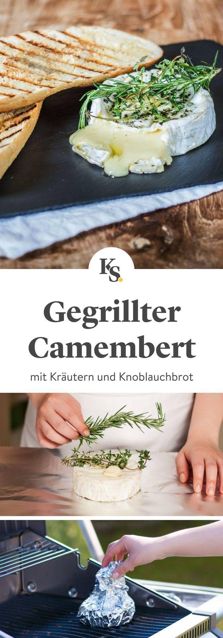 Grilled camembert with garlic bread Recipe | Kitchen stories,  #bread #camembert #garlic #Grilled #Kitchen #Recipe #stories #vegetariancampingfood