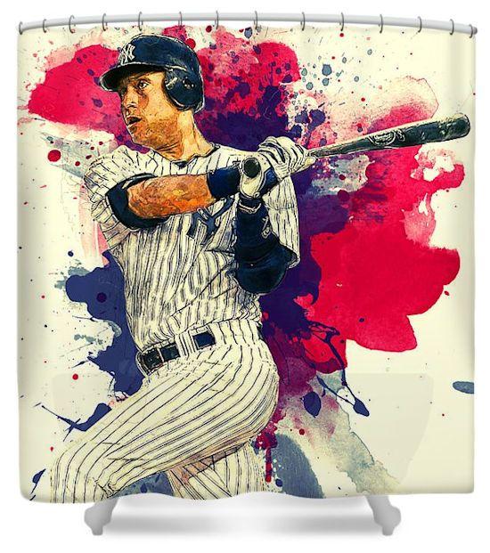 Derek Jeter New York Yankees Artistic Baseball Shower Curtain