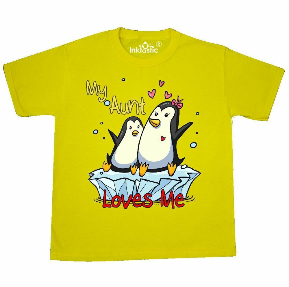 71d85208 Inktastic My Aunt Loves Me Penguin Youth T-Shirt Cute Tee Kids Children  Child #