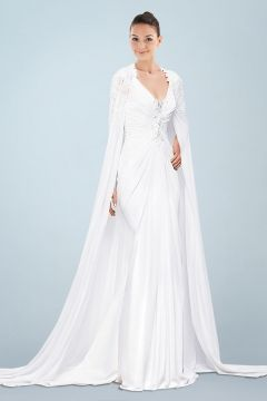 Noble Sheath Chiffon Wedding Dress Featuring Long Floaty Cloak and Plunging Back