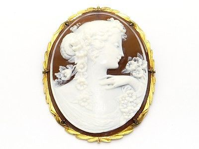 14k Yellow Gold Large Carved Shell Cameo Pendant Brooch Pin
