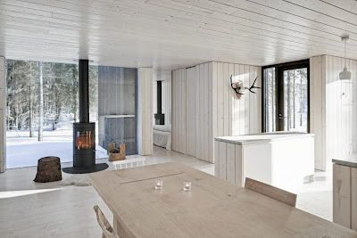 white painted wood and black contemporary woodburning stove