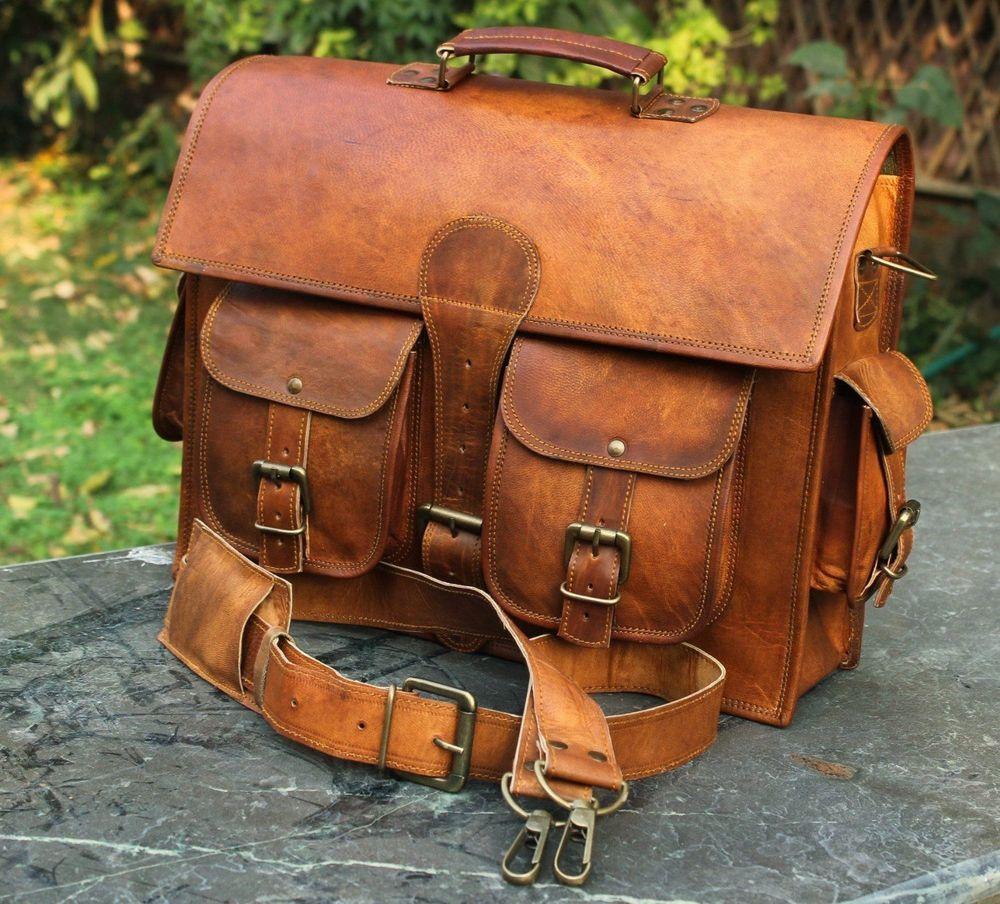 Leather Vintage Messenger Bag Shoulder Men Satchel S Laptop School Briefcase New