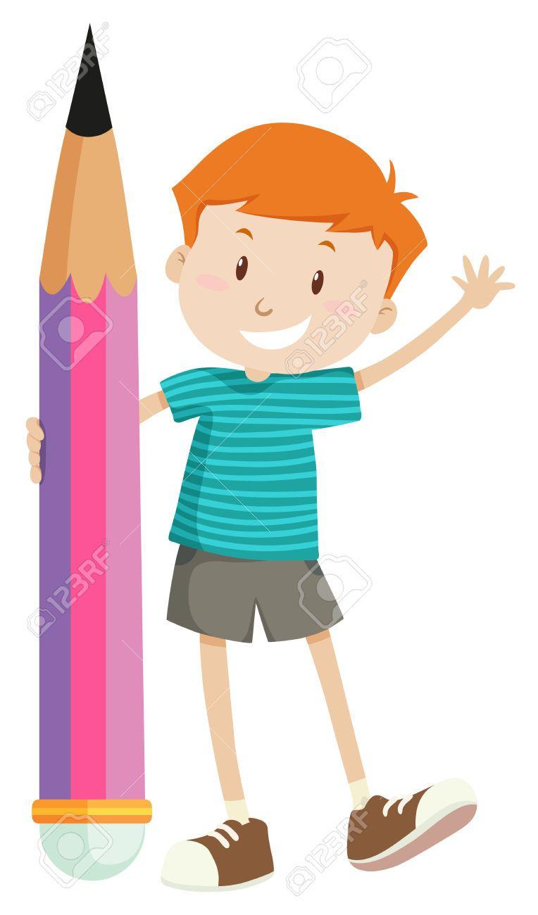 Niño Pequeño E Ilustración Lápiz Gigante Ilustraciones Vectoriales, Clip Art Vectorizado Libre De Derechos. Image 46508603.