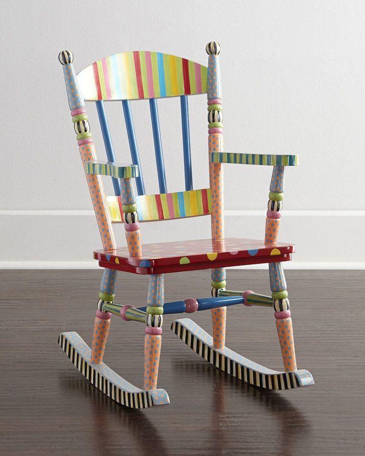 Scegli il mio arredamento vintage e le mie sedie colorate! Mackenzie Childs Wee Rocking Chair Sedie Dipinte Mobili Dipinti Sedia A Dondolo