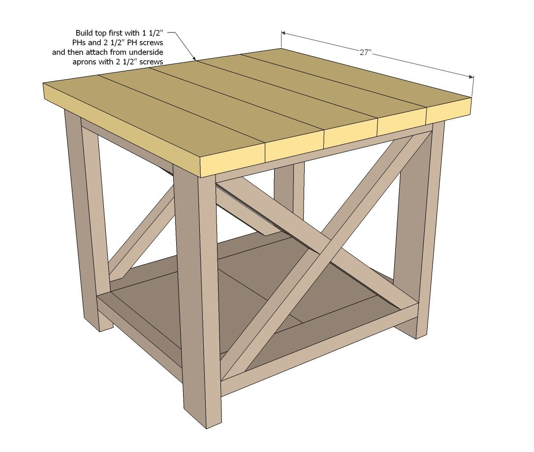 Ana white build a rustic x end table free and easy diy for Diy coffee and end tables