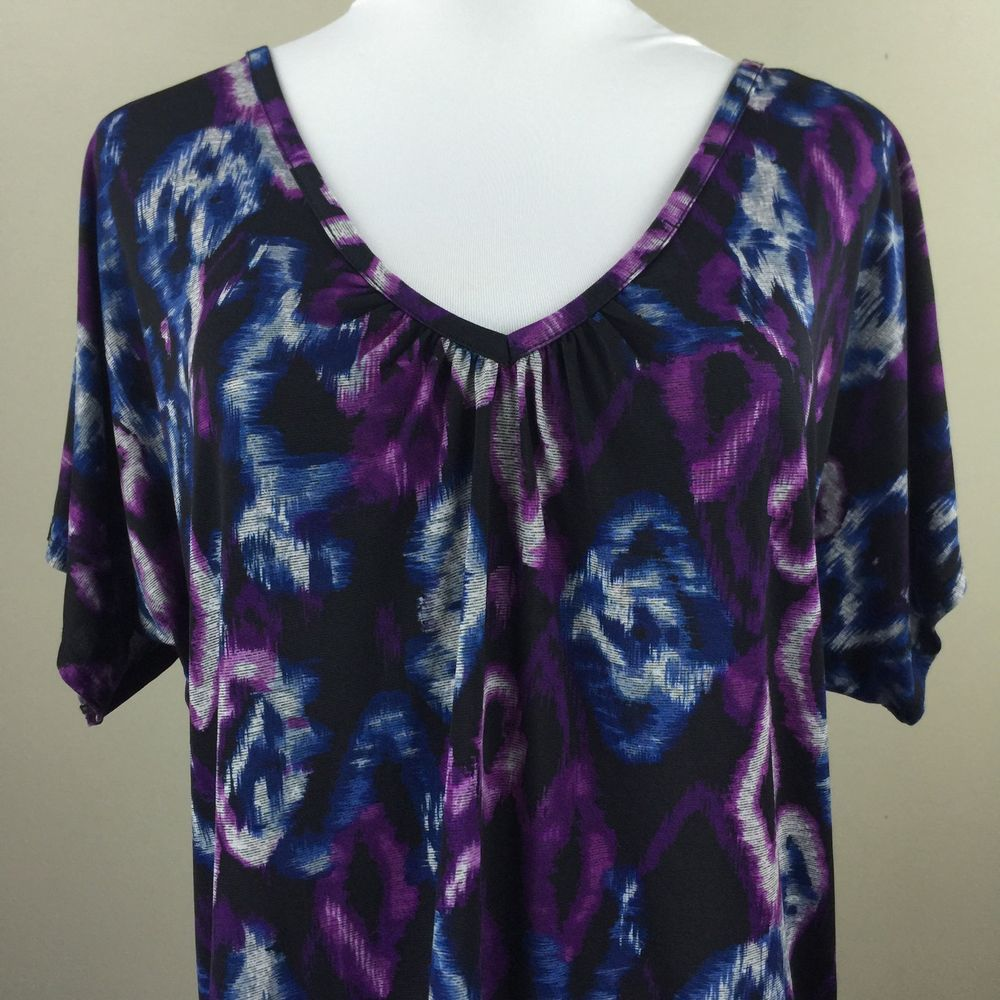 Ab Studio Purple Women S Blouse Sz Medium Vneck Shirt Ebay