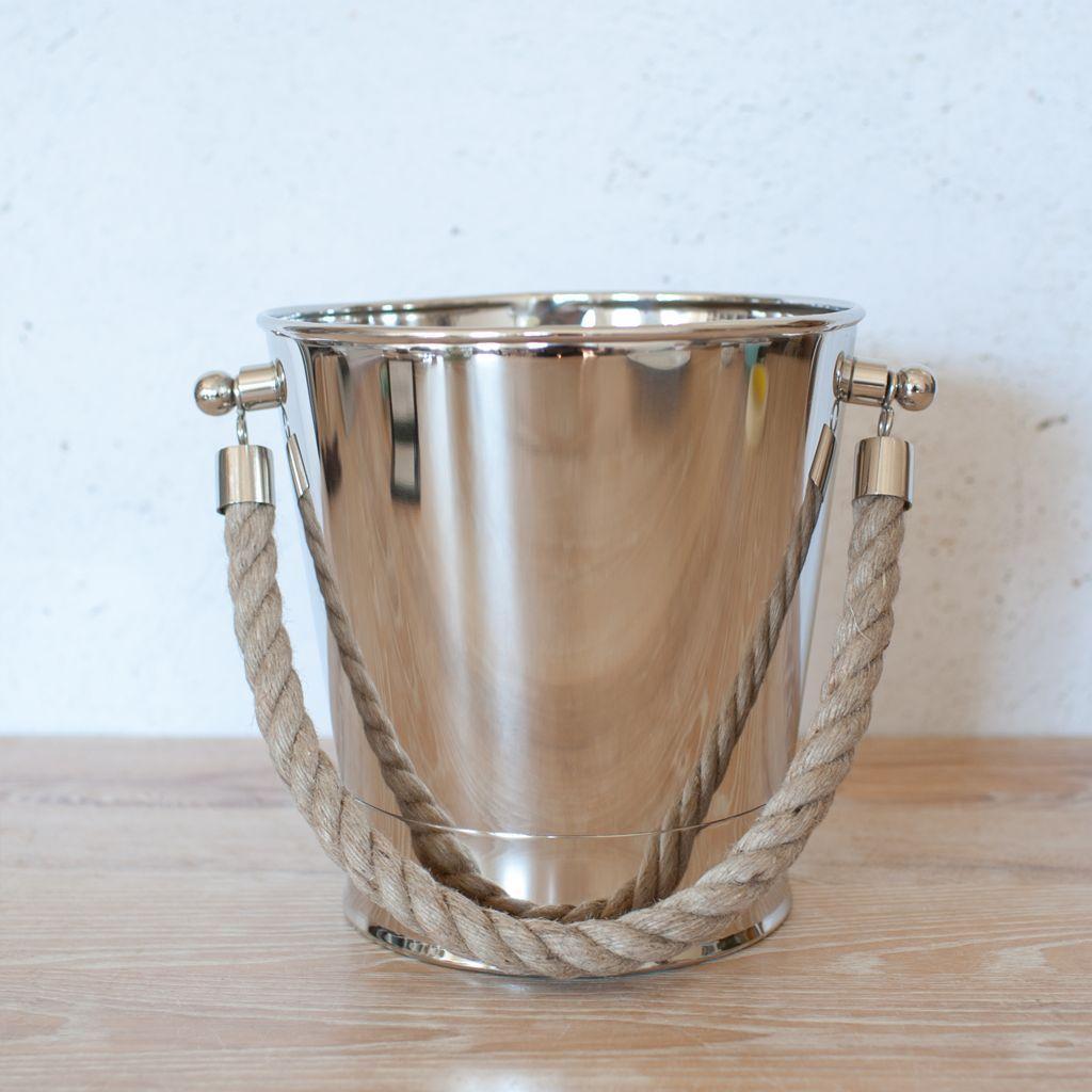 Nickel Rope Handled Ice Bucket