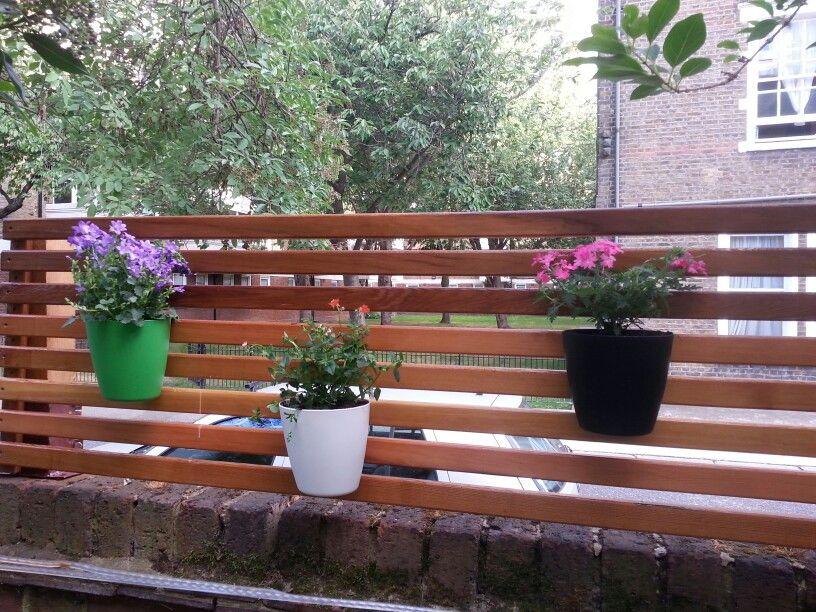 Slatted trellis fence with IKEA hanging plant pots ...