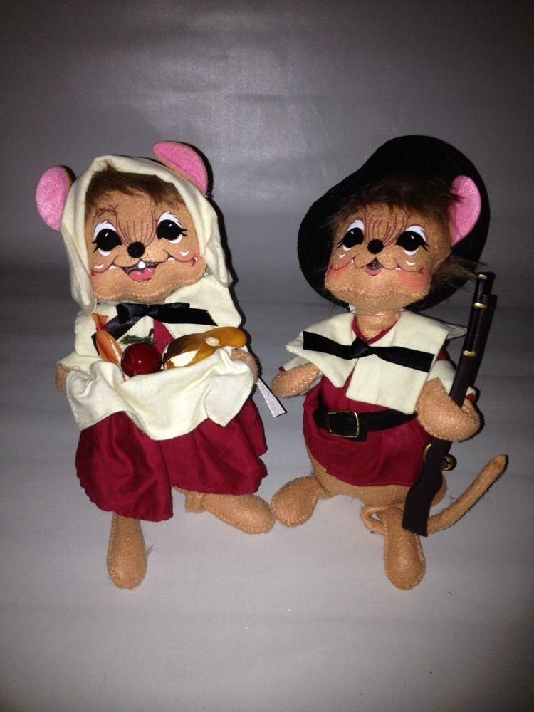 Annalee Doll Mouse Pilgrim Couple Boy Girl Thanksgiving ...