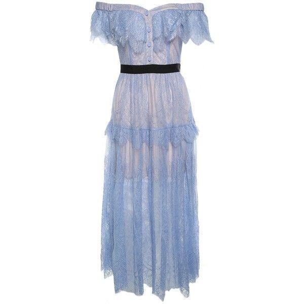 d5bd16cfa0ed Self-Portrait Off-the-Shoulder Floral-Embroidered Fine-Lace Maxi Dress