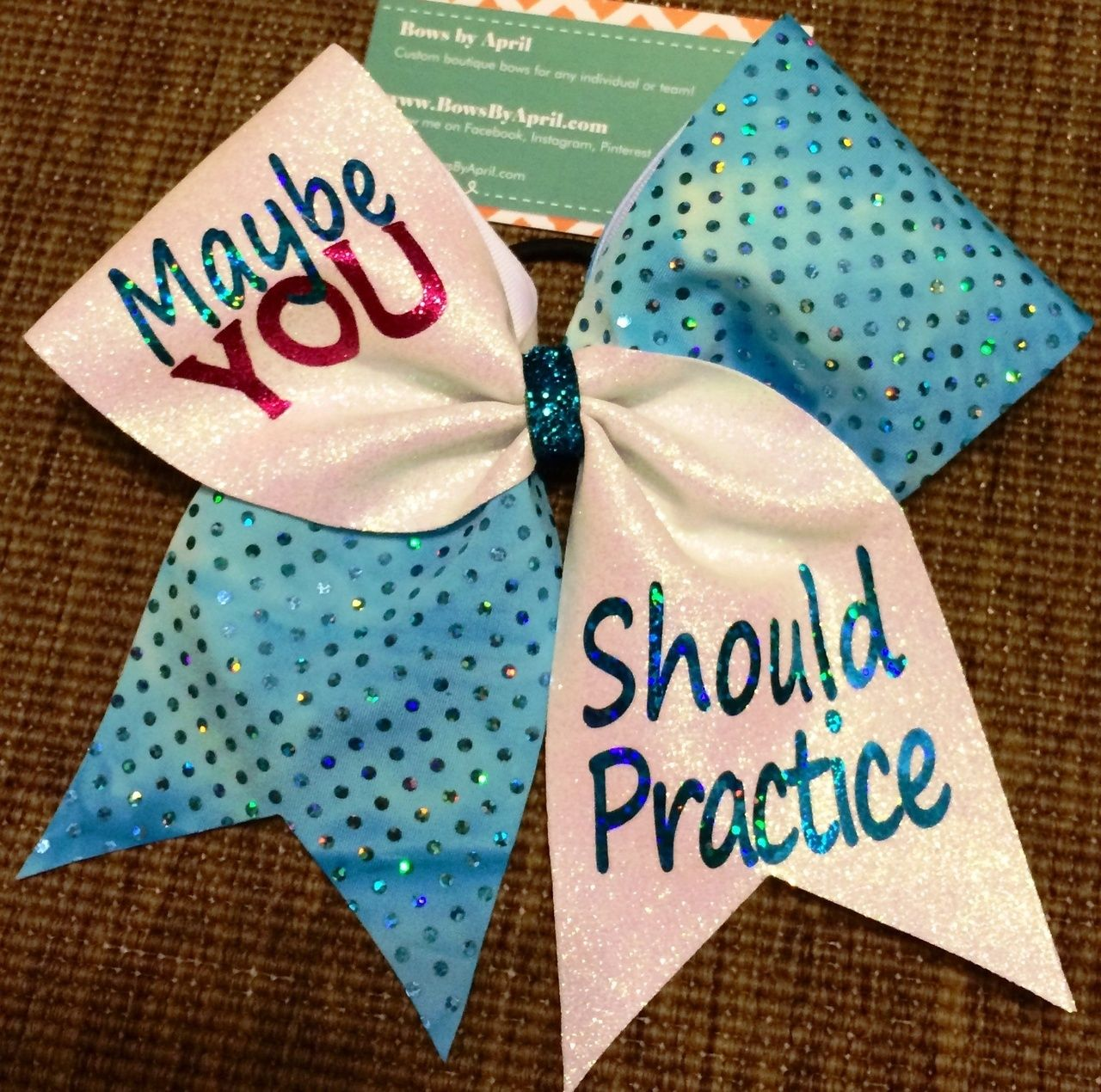 Maybe YOU Should Practice White Glitter and Holo Dot Cheer Bow ...