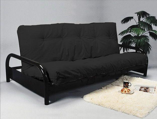 Black metal futon sofa bed frame coaster furniture 300159 for Metal frame futon sofa bed