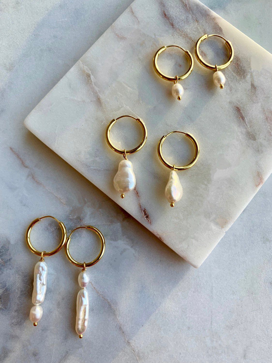 Pearl Hoop Earrings - Freshwater Pearl Earrings - White Pearl Earrings - Baroque Pearl Earrings - Pearl Hoops Earrings - Hoop Earrings P #pearljewelry