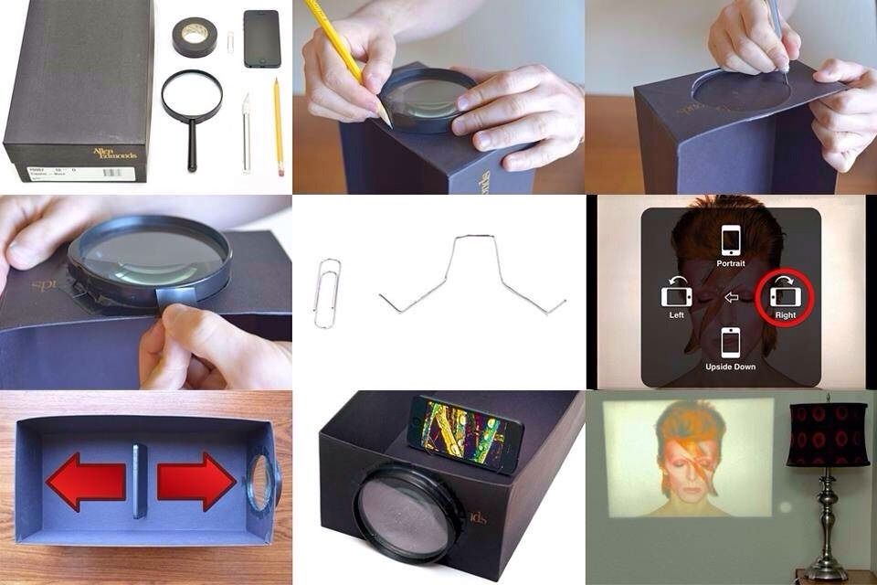 Diy Iphone Projector Homemade Projector Smartphone Projector Diy Projector