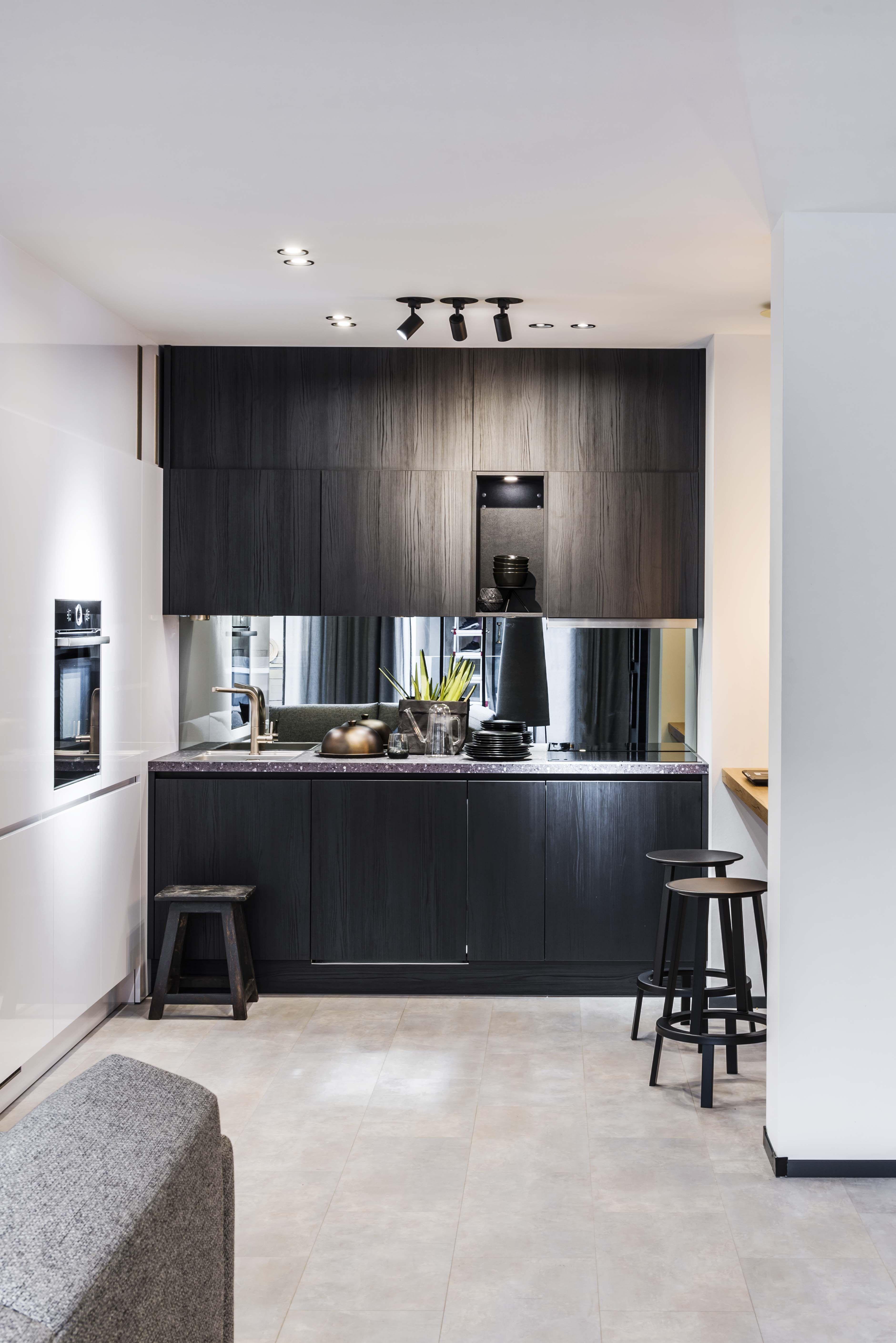 Compacte Moderne Keuken Slaapkamer Interieur Kamer Decoratie