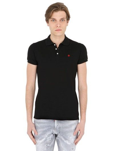 DSQUARED2 Maple Leaf Embroidered Cotton Piqué Polo, Black. #dsquared2 #cloth #polos