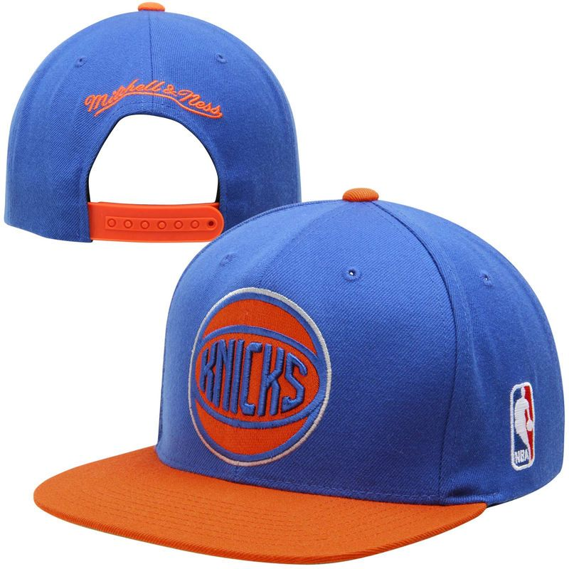 Mitchell Ness New York Knicks Xl Logo 2 Tone Snapback Adjustable Hat Royal Blue Orange New York Knicks Adjustable Hat New York Logo