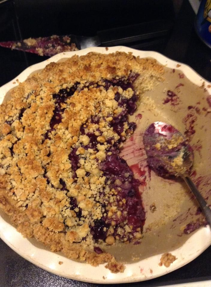 Triple Berry Crumble (S) - Topping: Mix together 2 cups almond flour, 1/2 cup ground walnuts, 6 Tbsp melted butter, 2 tsp Truvia. Filling: In a saucepan, combine: 5-7 cups frozen mixed berries, 1 egg white, 1.5 tsp butter, 1 Tbsp lemon juice, 1 Tbsp Truvia plus 10 drops stevia extract. When the fruit has started to cook down add 1/2 teaspoon gluccie (slowly) and stir until slightly thickened. Put fruit mixture in an 8x8 and top with crust. Bake at 375 for 15-20 minutes.