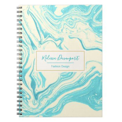 Cool Marble Design In Turquoise And Cream Notebook  Faux Gifts