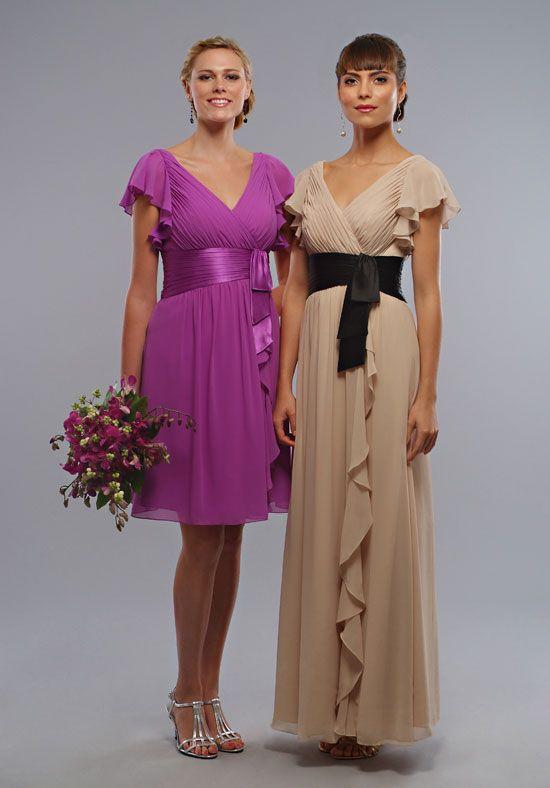 2013 Stylish Elegant V-neck Short Sleeves Empire Waist Customer-made Bridesmaid Dress [BD-3749]