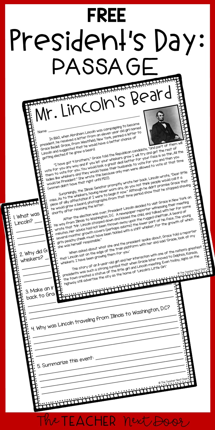 hight resolution of FREE President's Day Passage for 4th and 5th Grades in 2020   Teaching  reading