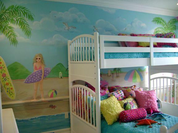 Best Surfer Girl Room Sassy Beach Mural Children S Murals 640 x 480