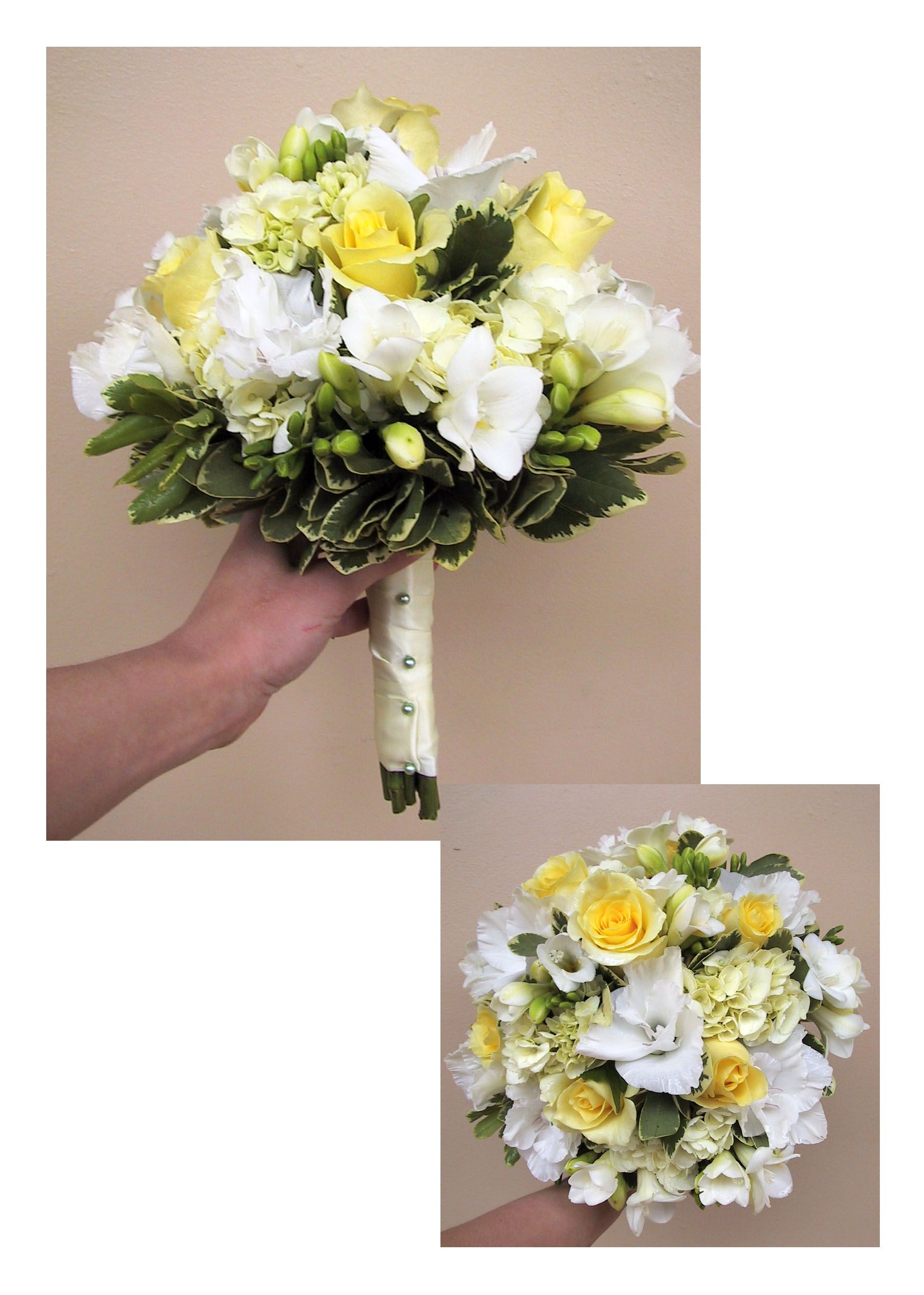 Posy Wedding Bouquet With Pale Yellow Roses White Glad Blossoms Fressia