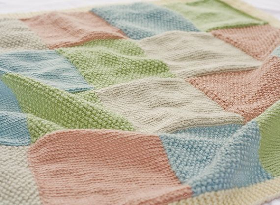 Pastel Patchwork Hand Knitted Baby Blanket - Merino/Cashmere ...